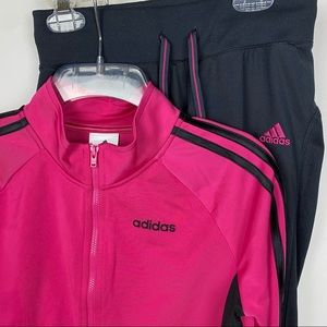 Adidas Pink Classic Zip front Track  jacket large